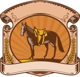 Grabar en madera occidental de la voluta de la silla de montar del caballo Imagen de archivo