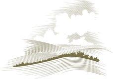 Grabar en madera Skyscape imagenes de archivo