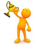 grabb 3d: Hållande guld- trofé för man Arkivbild