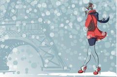 Grabb i en vinterMoskva stock illustrationer