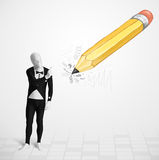 Grabb i kroppmaskering med en dragen blyertspenna för stor hand Royaltyfri Bild