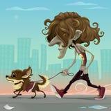 Grabb med hunden som går på gatan royaltyfri illustrationer