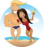 Grabb och flicka för vektortecknad film sexig på stranden royaltyfri illustrationer