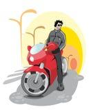 Grabb på en röd cykel Royaltyfri Fotografi