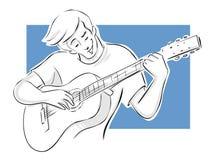 Grabb som leker gitarren Arkivbilder