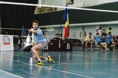 Grabb som spelar badminton fotografering för bildbyråer