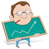 grabb som visar statistik Arkivbilder