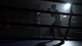 Grabbar som förbereder sig för en kickboxing konkurrens silhouette långsam rörelse arkivfilmer