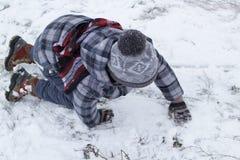 Grabbavverkningen i vinter arkivfoto