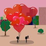 Grabben ger ballonger i formen av hjärtor royaltyfri illustrationer