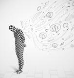 Grabben i kroppdräktmorphsuit som ser, skissar och klottrar Royaltyfri Foto