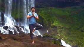 Grabben rymmer poserar på benveck gömma i handflatan på bröstkorg på vattenfallet stock video