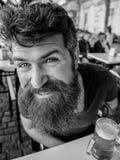 Grabben som den har, vilar med kallt fatöl Hipster på lycklig framsida som dricker utomhus- öl Man med skägg- och mustaschhåll arkivbilder