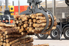 Grabber crane with timber. Grabber crane for loading and unloading timber and wood from road transport Royalty Free Stock Photography