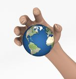Grabbing the Earth. 3D rendering of a Large hand trying to get a grip on Earth Stock Photography