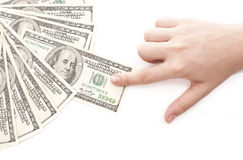 Grabbing money. Isolated on white background Royalty Free Stock Image