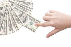 Grabbing money. Isolated on white background Stock Image