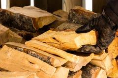 Grabbing wood Royalty Free Stock Image