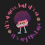 Grabe el carácter Ejemplo de Mixtape Con lema Estilo estupendo del corte de pelo del Afro Los pulgares suben gesto Música pop 80s Imagen de archivo