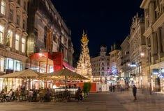 Graben i Wien på n-natten royaltyfria foton