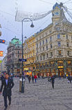 Graben street in the Old city of Vienna in Austria with Christma Stock Photos