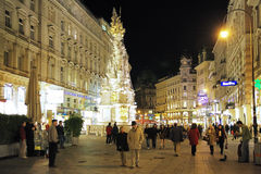 Graben street and the Plague Column in Vienna Stock Image