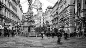 Graben street with shops and restaurants in Vienna, Austria. VIENNA, AUSTRIA - NOVEMBER 26, 2013: City center Graben street with shops and restaurants full of Stock Photography