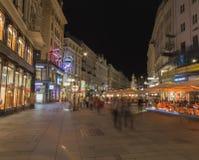 Graben Street in Vienna at Night Stock Image