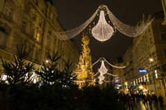 Graben Street in Vienna at Night during the Christmas Season. VIENNA, AUSTRIA - 2ND DECEMBER 2015: A view along Graben Street at night during the Christmas Stock Photography