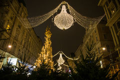 Graben Street in Vienna at Night during the Christmas Season. VIENNA, AUSTRIA - 2ND DECEMBER 2015: A view along Graben Street at night during the Christmas Stock Image