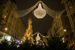 Graben Street in Vienna at Night during the Christmas Season Stock Image