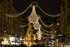 Graben Street in Vienna at Night during the Christmas Season. VIENNA, AUSTRIA - 2ND DECEMBER 2015: A view along Graben Street at night during the Christmas Stock Photos