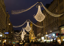 Graben Street in Vienna at Night during the Christmas Season. VIENNA, AUSTRIA - 2ND DECEMBER 2015: A view along Graben Street at night during the Christmas Stock Photo