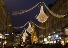 Graben Street in Vienna at Night during the Christmas Season Stock Photo