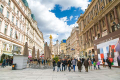 Graben street view and Plague column in Vienna Royalty Free Stock Photography