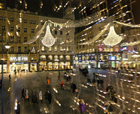The Graben of Vienna on evening during Christmas season Royalty Free Stock Photo