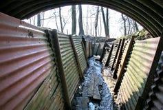 Graben WW1 am Schongebiet-Holz lizenzfreie stockfotografie