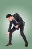 Grabende Haltung oder Anwendung der Schaufel stockbild