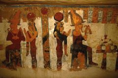 Grabfresko in Luxor, Ägypten, Afrika Stockfoto