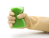 Grabing a cleaning sponge Stock Photo