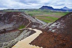 Grabrokarfell przeglądał od Grabrok krateru, Iceland Zdjęcie Royalty Free