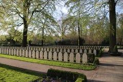 Grabstein auf dem Feld der Ehre herein auf dem grebberberg, wohin viele niederländischen Soldaten im Jahre 1940 am Anfang Weltkri stockfoto