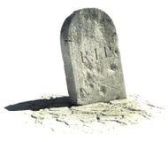 Grabstein auf Weiß Stockfotos