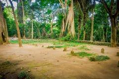 Grabsteine im Affewaldschongebiet, in einem Naturreservat und im Komplex des hindischen Tempels in Ubud, Bali, Indonesien Stockfotografie