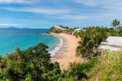 Grace Bay beach, Antigua and Barbuda island. Beautiful marine view on tropical caribbean beach at Grace Bay, Antigua and Barbuda, Leeward Islands, West Indies stock photography