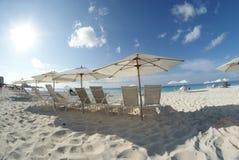Umbrellas on the beach Stock Image