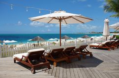 Grace Bay Beach in Providenciales, Turks and Caicos. PROVIDENCIALES, TURKS AND CAICOS -Grace Bay Beach, a landmark azure beach in Provo in the Turks and Caicos Stock Image