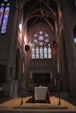Grace Cathedral Alter. The main alter and trancept surrounded by colorful stained glass windows in Grace Cathedral in the Nob Hill district of San Francisco Royalty Free Stock Image