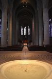 Grace Cathedral Baptismal Font. The Baptismal font and labyrinthine floor in Grace Cathedral in the Nob Hill district of San Francisco, California Royalty Free Stock Photo