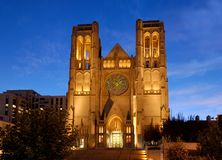 Grace Cathedral in SF. Grace Cathedral at Nob Hill, San Francisco, shot at dusk Stock Photography